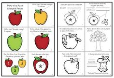 """Reading activities: """"Parts of an Apple"""" Emergent Reader uses 58 Dolch sight words! (6 pages on one template to make an Itty Bitty booklet. :-)"""