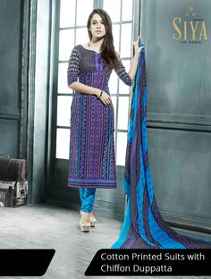 Gorgeous cotton suits with geometric prints priced reasonably #Dress #material #Ethnic #Siya #women's #fashion