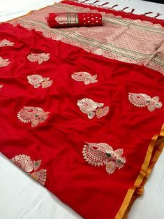 Style Array Present Bollywood Designer Red Color Soft Silk Saree. Buy This Attractive Look Bollywood DesignerRed Soft Silk Saree Indian Silk Sarees, Soft Silk Sarees, Banarasi Sarees, Cotton Saree, Red Saree, Saree Dress, Sari Blouse, Linen Blouse, Saree Blouse Patterns