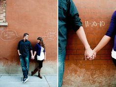 """Go Graffiti: In an urban setting, """"tag"""" the walls with chalk with your big day's info for a fun touch.  Photos by Cascio Photography via Utah Bride Blog"""
