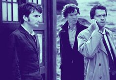 """SuperWhoLock. Cas is no doubt calling Sam and Dean to tell them to expect to see a blue box in the kitchen quite soon, Sherlock is wondering how an angel got a phone, and the Doctor is just like """"take your time, we've got all the time in the world, literally.<< this"""