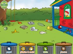 Juego: Reciclando con Caillou Caillou, My Little Kids, Digital Board, Save Our Earth, Environmental Studies, Esl Resources, Earth Day, Presentation Design, Recycled Materials