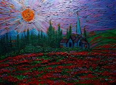 Church at Sunset in Wilderness and Flowers oil on canvass 18x24