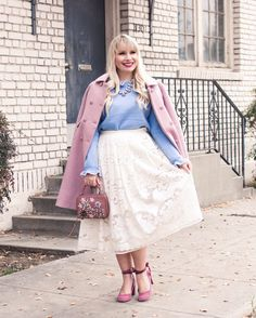 I'm obsessed with wearing pastels for winter! Love this feminine and chic look!