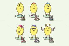 Easter eggs smiley variations set by MarioMovement on Creative Market