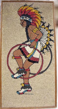 Vintage  MCM GRAVEL ART Pebble Mosaic Handmade Pow Wow Hoop Dancer