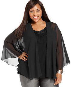 Alex Evenings Plus Size Jacket, Sheer Capelet - Plus Size Dresses - Plus Sizes - Macy's