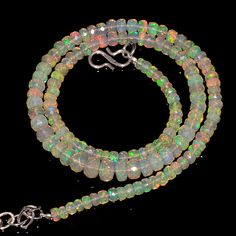 """53CRTS 4to6MM 18"""" ETHIOPIAN OPAL FACETED RONDELLE BEADS NECKLACE OBI2249 #OPALBEADSINDIA"""
