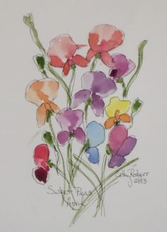 Sweet Peas April Birth Month Flower by CathyRodgersFineArt on Etsy