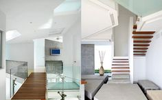"""A wooden bridge connects the family room to two of the four bedrooms in the house. The hallway creates the allusion of stepping stones. Canas used concrete here because """"it's a great minimalist material. It's uniform, textured, and man-made but still natural-looking."""""""