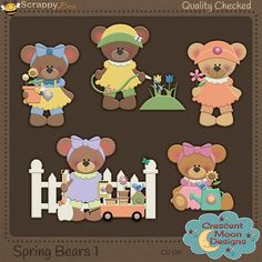 Spring Bears1{CU} 4 Adorable Springtime Bears Clipart Come in fullsize at 300 DPI and in png format They are not layered, and already for your kits and layouts.  Commercial Use | Personal Use | Scrap 4 Hire | Scrap 4 Others  No SVG/cutting files are allowed to be made  Any Questions email Moon@ScrappyBee.Com