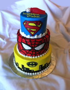 dirtbin designs: My top 10 Baby shower cakes for an expecting baby boy xxx Marvel Baby Shower, Superhero Baby Shower, Superhero Cake, Boy Baby Shower Themes, Baby Shower Cakes, Baby Shower Parties, Baby Boy Shower, Baby Showers, Spiderman Theme