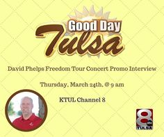 Don't miss Good Day Tulsa tomorrow March 24th from 9-10 am on KTUL Channel 8.  Eastwood Baptist Church Worship Pastor Jeremy Rhodes will be discussing the David Phelps Freedom Tour Concert here at Eastwood on Friday night March 25th @ 7pm.  David Phelps will be in concert at Eastwood Baptist Church in Tulsa tomorrow night at 7 pm. Tickets are $25 on itickets.com. Visit Eastwoodtulsa.com for more information. by smpsocialmedia