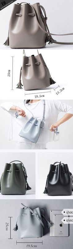 How to add leather handbag straps to a purse Genuine Leather bucket bag shoulder bag for women leather crossbody bag – Leather Crossbody Bag, Leather Purses, Leather Handbags, Leather Bags, Leather Backpacks, Leather Totes, Ropa Upcycling, Diy Handbag, Fashion Bags