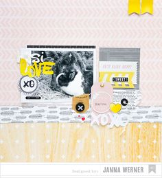 Janna Werner | American Crafts 'Pets Week' - scrapbooking layout bunnies (with Daydreamer collection from Dear Lizzy and Plus One collection from Amy Tangerine))