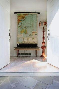 old school map in entryway