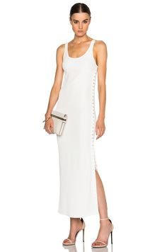 Calvin Klein Collection Fiana Structured Jersey Maxi Dress in White   FWRD