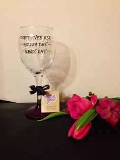 Funny Novelty Gifts For Christmas from the uk,  Hand Painted 340ml Wine Glass 'Easy Day Rough day Don't Even Ask by MemoriesLikeTheseuk, Etsy Gifts UK # #funny wine glass #great gift #funny gift for her