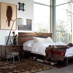 Recycled timber bed head.