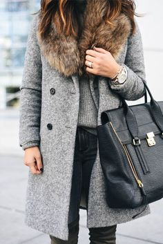 Sole Society faux fur stole. Winter outfit. Fashion trend. Black and Grey with fur.