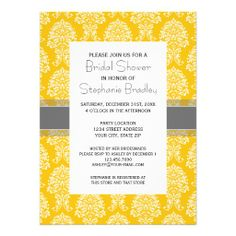 Gray and Yellow Vintage Damask Pattern Custom Announcement Dealstoday easy to Shops & Purchase Online - transferred directly secure and trusted checkout...