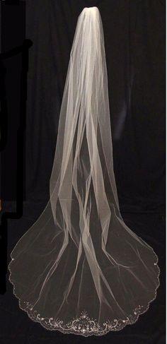 Elegant Beaded Scalloped Edge Cathedral Length Wedding Veil - Affordable Elegance Bridal -