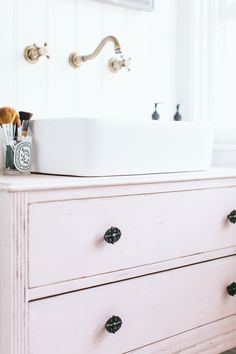 DIY chalk pink sink unit love the refurb drawers as stand and storage x