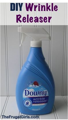 DIY Wrinkle Remover is just Water + Fabric Softener!  Fill spray bottle almost full with hot water then add fabric softener.  Adjust the portions depending on the size of your spray bottle.  For the ratio, use approximately 4 cups hot water to 2-3 tablespoons of fabric softener.  Mix, and enjoy!!