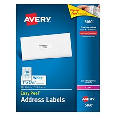 Avery Easy Peel White Mailing Labels for Laser Printers 1 x 262 Inch Box of 3000 Labels 5160 -- Click image for more details.