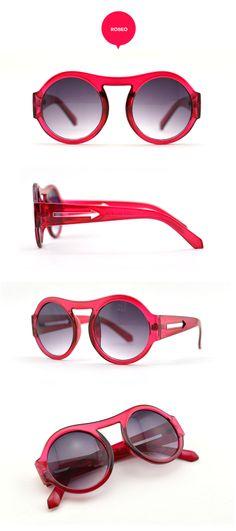 #Miss R street style round sun glasses-retro sunglasses-arrow sunglasses #Retro suglasses #red glasses #transparent frame -- Visit FUNMEMO.COM