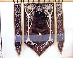 Wedding banner LOTR inspired by Arwen's bedroom banner lord of the rings decor fairies and elves middle earth wall decoration. $1,930.00, via Etsy.