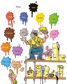 A painter painting in normal colors, which are labeled in french. An easy representation of colors in french.