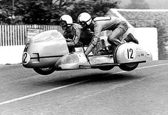Sidecar TT race, Isle of Man, This motorcycle and sidecar combination are airborne as they cross Ballaugh Bridge on the TT circuit. Sidecar TT race, Isle of Man, Credit: National Motor Museum / HIP / TopFoto Motos Vintage, Vintage Bikes, Vintage Motorcycles, Vintage Cars, Indian Motorcycles, Retro Cars, Vintage Images, Valentino Rossi, Ducati Logo