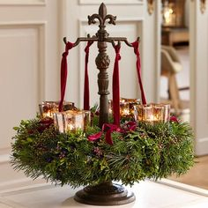 "Advent Wreath Stand ""Antwan"" by Loberon - Garden Decorations Victorian Christmas Decorations, Christmas Candle Decorations, Advent Candles, Christmas Lanterns, Holiday Decor, Christmas Advent Wreath, Christmas Chandelier, Xmas Wreaths, Christmas Crafts"
