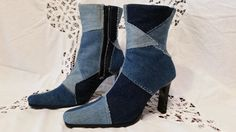 Cool Blue Jean Denim Ankle Boots with by sistersvintageattic