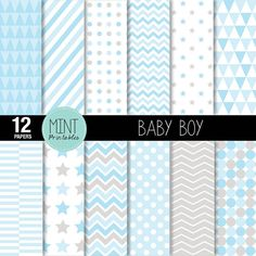 Baby Boy Digital Paper, Scrapbooking Papers, Patterned Paper, Printable Sheets, Blue Baby Shower, Stars, Chevron - BUY 2 GET 1 FREE!