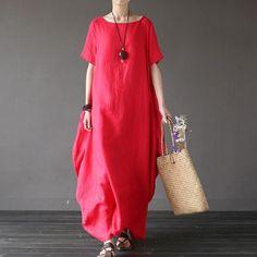Women summer short sleeve loose linen dress