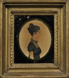 Portrait Miniature of a Lady in Profile, America, in the manner of Rufus Porter, c. 1825, unsigned, half-length profile