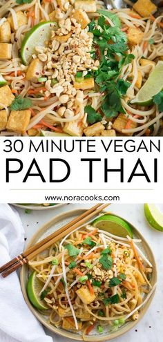 recipes dinner 30 Minute Vegan Pad Thai with tofu and the most incredible, simple sauce! 30 Minute Vegan Pad Thai with tofu and the most incredible, simple sauce! Better than take-out. Vegan Dinner Recipes, Whole Food Recipes, Cooking Recipes, Healthy Recipes, Healthy Breakfasts, Cooking Ideas, Beef Recipes, Healthy Snacks, Tilapia Recipes