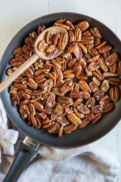 An easy recipe for how to toast pecans in the oven or on the stove. Enhance the flavor of pecans, then add to salads, snack mixes, baked goods, and more! Great Recipes, Snack Recipes, Dessert Recipes, Cooking Recipes, Favorite Recipes, Snacks, Cooking Ideas, Tolle Desserts, Roasted Walnuts