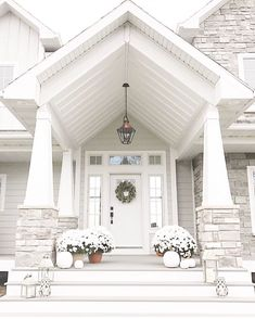 fall front porch decor front porch neutral fall decor white mums and white pumpkins Dream House Exterior, Exterior House Colors, Stone On House Exterior, Home Exteriors, House Exterior Design, Craftsman Exterior Colors, Home Styles Exterior, Exterior Paint, Dream Home Design