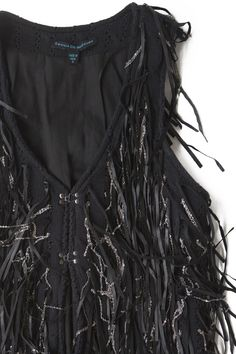 Cecilia De Bucourt Black leather and chain fringe vest