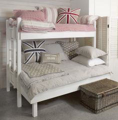 Kids bunks and divine bedding! Love the stars.