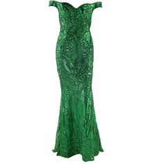 Honey couture hailey green sequin off shoulder evening gown dress ($299) ❤ liked on Polyvore featuring dresses, sexy sheer dress, white sheer dress, gold dress, sexy green dress and white off-shoulder dresses