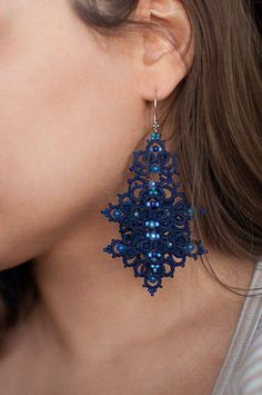 Tatting Earrings, Tatting Jewelry, Lace Earrings, Soutache Jewelry, Unique Earrings, Beaded Jewelry, Jewellery, Needle Tatting, Tatting Lace