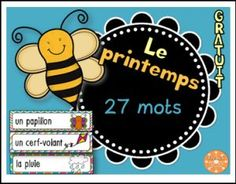 Integrations: -Spring -Word Wall -Vocabulary -Games Here's a collection of 27 word wall cards on Spring vocabulary. ********************************************************************* Here are other products on Spring: I have. Fun Classroom Activities, Spring Activities, Teaching French Immersion, Spring Words, French Classroom, Vocabulary Games, French Words, Too Cool For School, School Stuff