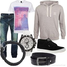teen boys outfit, casual cool style, full fashion ensemble with accessories