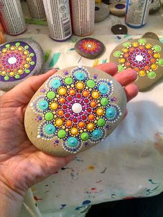 Large Hand Painted Beach Stone ~ Rainbow Painted Rock ~ Colorful Dot Art Flower…