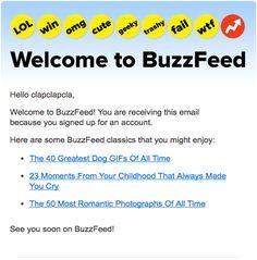 30/10/2013, e-mail de boas vindas pelo perfil criado no community do buzzfeed