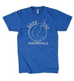 Narwhals t shirt funny shirt vintage t shirt S-3XL. $14.99, via Etsy.